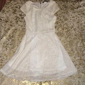 Dresses & Skirts - Sheer white lace cap sleeve dress S/M zipper back